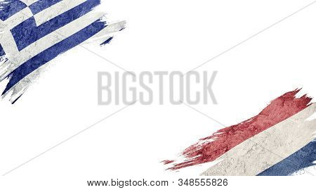 Flags Of Greece And Nederland On White Background