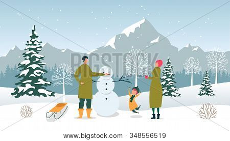 Flat Dad, Mom And Son Sculpt Snowman, Winter Fun. Man Decorates Snowman With Carrot. Little Boy Warm