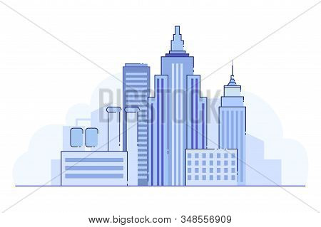 Bright Banner, Lifeless Landscape Big City, Flat. In Center Building And Structure Big City And Chem