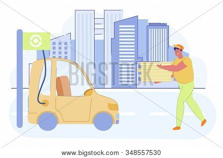 Delivery Man Holding Boxes With Pizza And Going Towards Electro Car Flat Cartoon Vector Illustration
