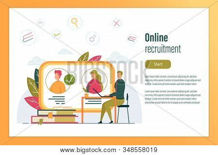 Online Recruitment Header And Computer Screen With Candidates Resumes. Human Resources And Hr Banner