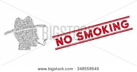 Mosaic Cigarette Smoker Pictogram And Red No Smoking Seal Stamp Between Double Parallel Lines. Flat