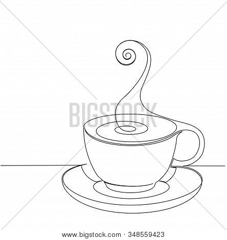 Emblem Of Cup Of Coffee In One Continuous Line Drawing Style For Cafe, Shop, Restaurant Or Coffee Ho