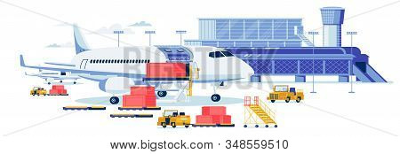 Freight Aircrafting And Cargo Transportation Background. Airport Terminal Building With Loaders Truc