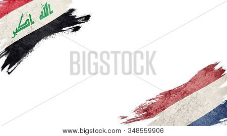 Flags Of Iraq And Nederland On White Background