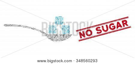 Mosaic Sugar Spoon Icon And Red No Sugar Stamp Between Double Parallel Lines. Flat Vector Sugar Spoo