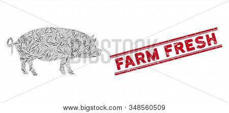 Mosaic Swine Pictogram And Red Farm Fresh Seal Stamp Between Double Parallel Lines. Flat Vector Swin