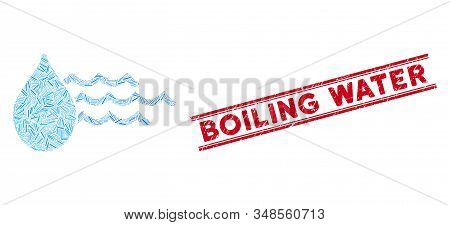 Mosaic Water Icon And Red Boiling Water Seal Stamp Between Double Parallel Lines. Flat Vector Water