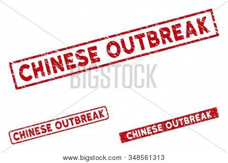 Chinese Outbreak Stamp Seals. Red Vector Rectangle Distress Stamp Imprints With Chinese Outbreak Tit