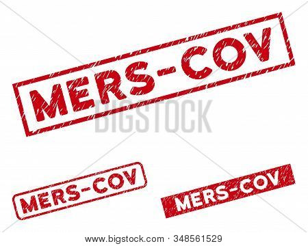 Mers-cov Seal Stamps. Red Vector Rectangle Textured Seal Stamps With Mers-cov Text. Useful For Overl