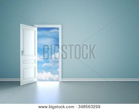 Room Interior With Open Door To Blue Sky. Mock Up, 3d Rendering