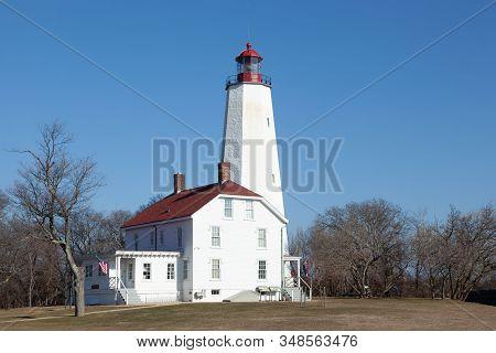 Sandy Hook Lighthouse At Fort Hancock In Sandy Hook