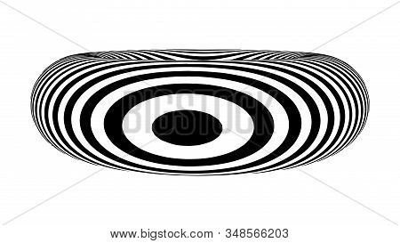 Optical Illusion Torus. Abstract 3d Black And White Illusions. Horizontal Lines Stripes Pattern Or B