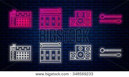 Set Line Drum With Drum Sticks, Stereo Speaker, Drum Machine And Drum Sticks. Glowing Neon Icon On B