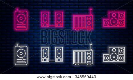 Set Line Stereo Speaker, Radio With Antenna, Music Player And Stereo Speaker. Glowing Neon Icon On B