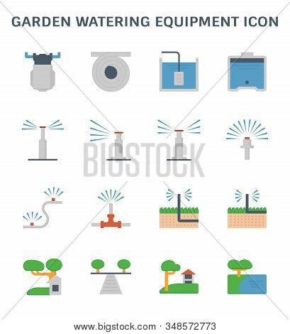 Garden Watering Equipment And Sprinkler Icon Set For Automatic Sprinkler System Graphic Design Eleme