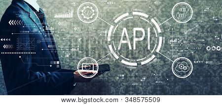 Api - Application Programming Interface Concept Api Concept With Businessman Holding A Tablet Comput