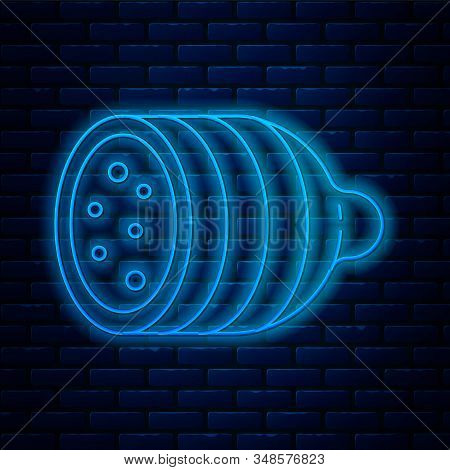 Glowing Neon Line Salami Sausage Icon Isolated On Brick Wall Background. Meat Delicatessen Product.