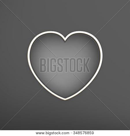 Happy Valentines Day, Valentines Day Background, Black Gray Silver Window Frame Heart Shape Paper Cu