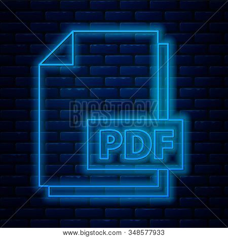 Glowing Neon Line Pdf File Document. Download Pdf Button Icon Isolated On Brick Wall Background. Pdf
