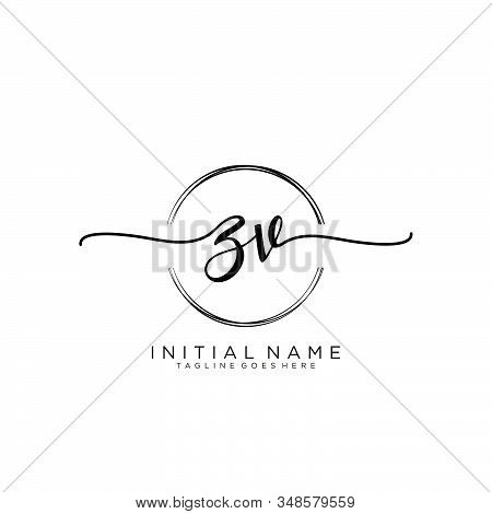 Zv Initial Handwriting Logo With Circle Template Vector.