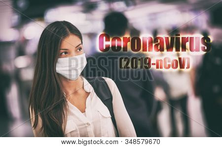 Coronavirus corona virus mask Asian chinese woman wearing flu mask prevention of Wuhan 2019-nCoV in China. Crowds public transport travel people.