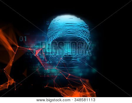 Digital Human Hacker Represent  Danger Of Cyber Criminal,hacker And Ransomeware 3dillustration