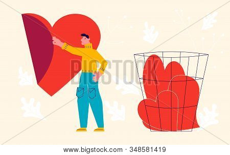 Metaphor Of Love, Betrayal And Relationship. Man Peels Off The Sticker Heart And Throws It Into The