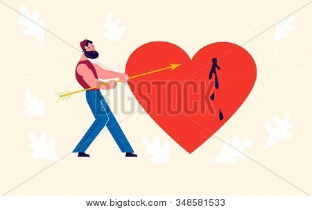 Metaphor Of Love, Betrayal And Relationship. Man Pulls An Arrow Out Of A Pierced Heart. Connect A Br
