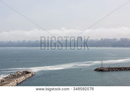 Chorillos, Lima, Peru - May 10, 2016: Looking From Chorillos To The City Of Lima Which Is Covered In