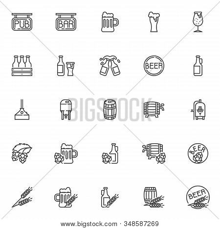 Brewery Line Icons Set. Craft Beer Production Linear Style Symbols Collection, Pub And Bar Outline S