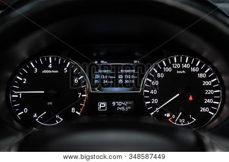 Novosibirsk, Russia - December 01, 2019:  Nissan Teana, Dashboard Of The Car Is Illuminated By Brigh