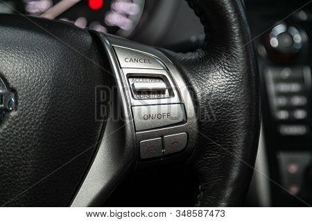 Novosibirsk, Russia - December 01, 2019:  Nissan Teana, New Black Steering Wheel With Multifunction
