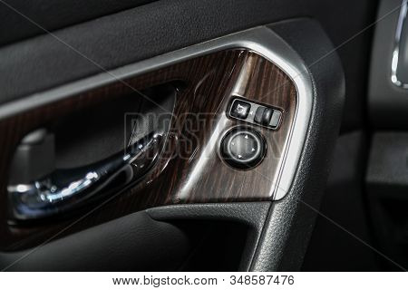Novosibirsk, Russia - December 01, 2019:  Nissan Teana, Close-up Of The  Buttons: Side Mirror Adjust