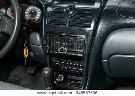 Novosibirsk, Russia - December 06, 2019:  Nissan Almera, Close-up Of The Dashboard, Monitor With Mus