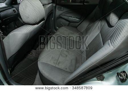 Novosibirsk, Russia - December 06, 2019:  Nissan Almera,  Gray Interior Design, Car Passenger And Dr