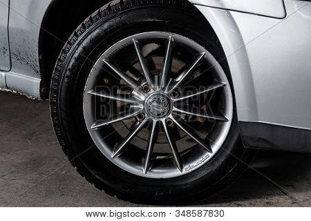 Novosibirsk, Russia - December 06, 2019:  Nissan Almera, Close-up Car Wheel With Aluminum Alloy Whee