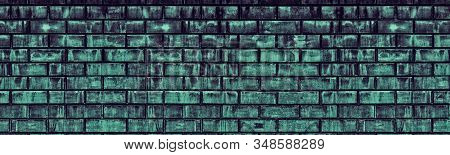 Old Shabby Dirty Blue Brick Wall Large Texture. Rough Cement Block Dark Widescreen Backdrop. Gloomy