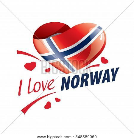 National Flag Of The Norway In The Shape Of A Heart And The Inscription I Love Norway. Vector Illust