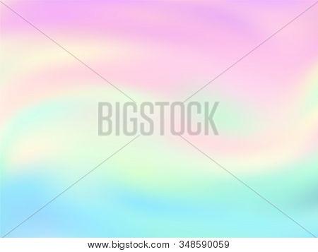 Neon Holographic Paper Fluid Gradient Backdrop. Ombre Pastel Rainbow Unicorn Background. Liquid Colo