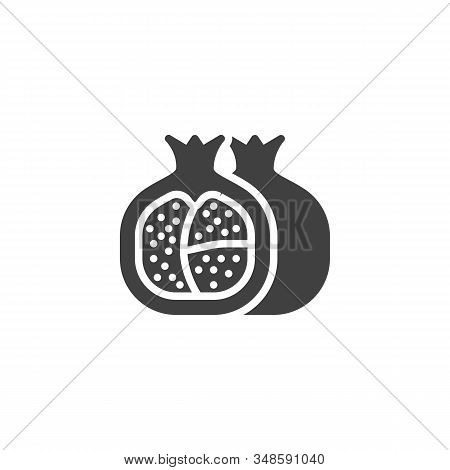Healthy Fruit Pomegranate Vector Icon. Filled Flat Sign For Mobile Concept And Web Design. Pomegrana