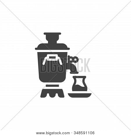 Traditional Tea Samovar Vector Icon. Filled Flat Sign For Mobile Concept And Web Design. Azerbaijan