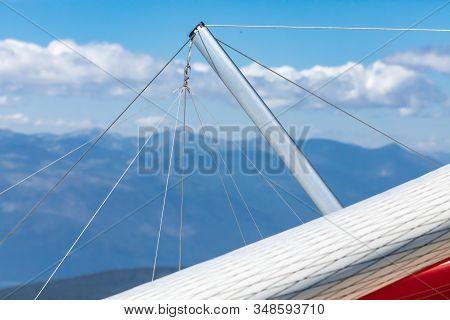 Extreme Close-up View Hang-glider Part. Special Flying Tool For Extreme And Risky Leisure Activities