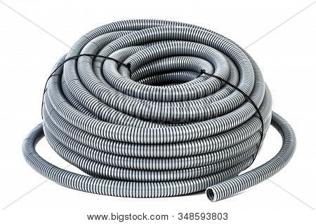 Roll Of Pvc Flexible Electrical Conduit Isolated On White Background