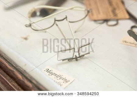 Close-up View Of Antique Magnifying Spectacles In The Museum, Kootenays, British Columbia, Canada. S