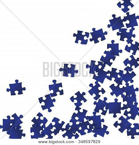 Business Brainteaser Jigsaw Puzzle Dark Blue Parts Vector Illustration. Top View Of Puzzle Pieces Is