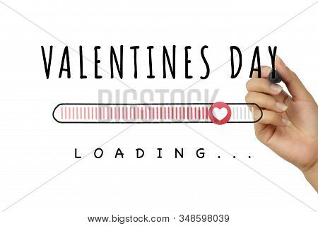 Female Hand Drawing Valentines Day Doodle With Loading Progress Bar On White Background - Romantic V