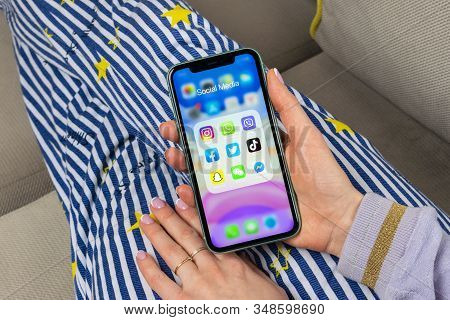 Helsinki, Finland, January 28, 2020: Apple Iphone 11 With Icons Of Social Media Facebook, Instagram,