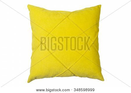 Yellow And Clean Pillow Isolated On White Background With Clipping Path. Close-up Of Yellow Pillow I