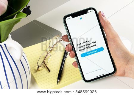 Helsinki, Finland, January 30, 2020: Twitter Application Icon On Apple Iphone 11 Smartphone Screen C